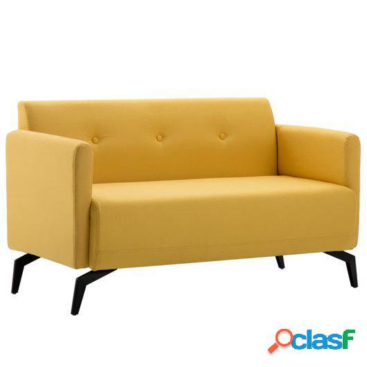 Sofá de 2 plazas con tapizado de tela 115x60x67 cm amarillo