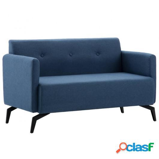Sofá de 2 plazas con tapizado de tela 115x60x67 cm azul