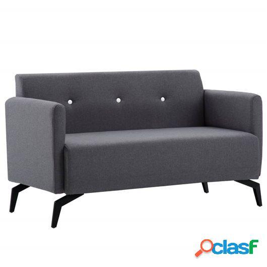 Sofá de 2 plazas con tapizado de tela 115x60x67 cm gris