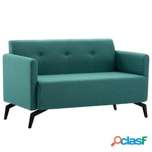 Sofá de 2 plazas con tapizado de tela 115x60x67 cm verde