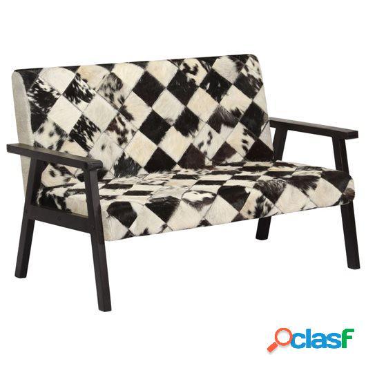 Sofá de 2 plazas cuero auténtico de cabra blanco y negro