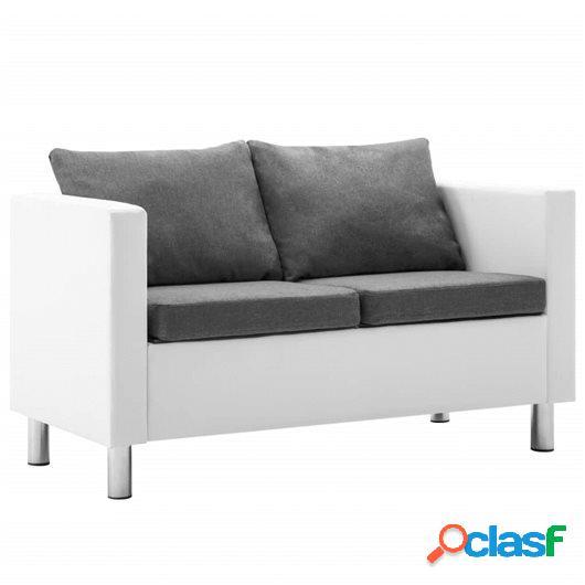 Sofá de 2 plazas de cuero sintético blanco y gris claro