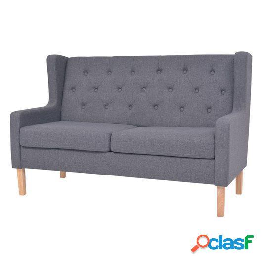 Sofá de 2 plazas de tela gris
