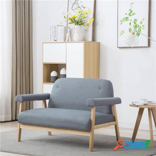 Sofá de 2 plazas tela gris claro
