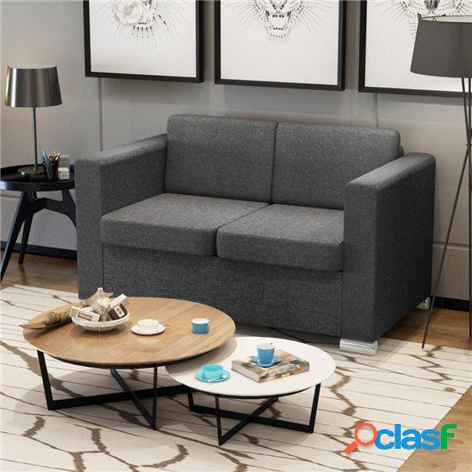 Sofá de 2 plazas tela gris oscuro