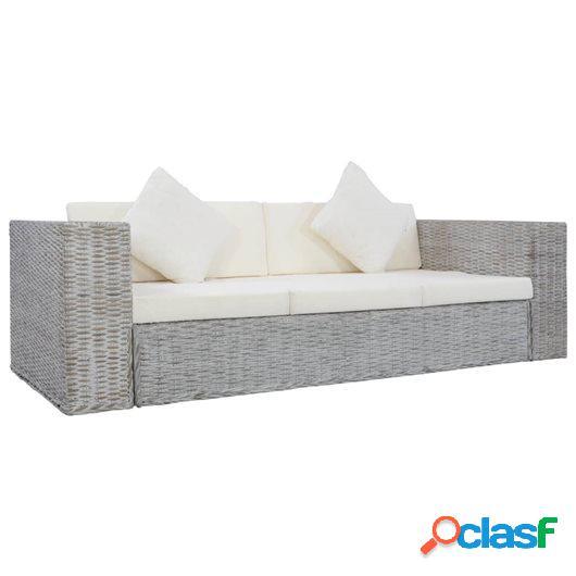 Sofá de 3 plazas con cojines ratán natural gris