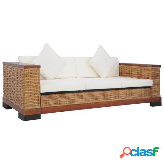 Sofá de 3 plazas con cojines ratán natural marrón
