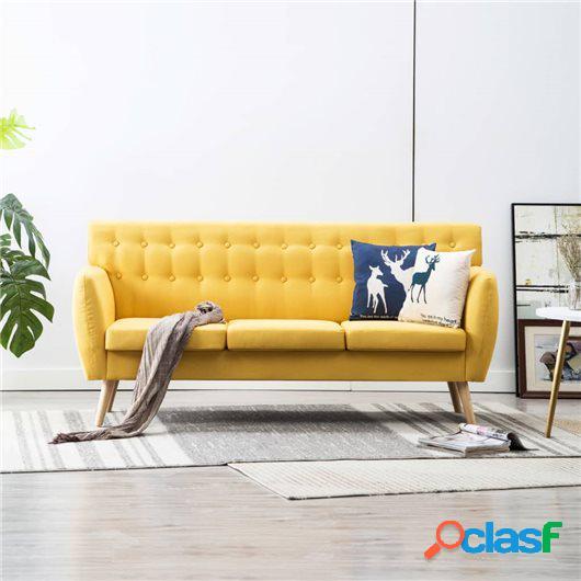 Sofá de 3 plazas con tapizado de tela 172x70x82 cm amarillo