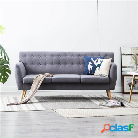 Sofá de 3 plazas con tapizado de tela 172x70x82 cm gris