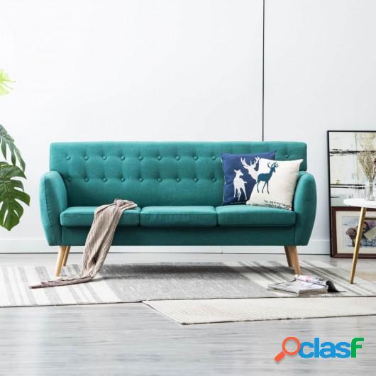 Sofá de 3 plazas con tapizado de tela 172x70x82 cm verde