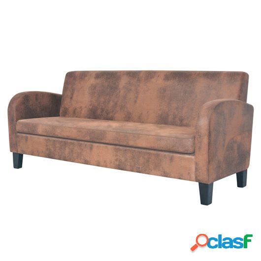 Sofá de 3 plazas de ante sintético marrón