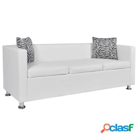 Sofá de 3 plazas de cuero artificial blanco