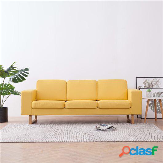 Sofá de 3 plazas de tela amarillo