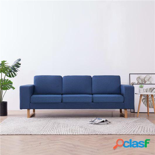 Sofá de 3 plazas de tela azul