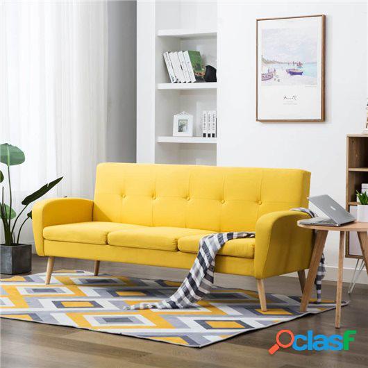 Sofá de 3 plazas de tela color amarillo