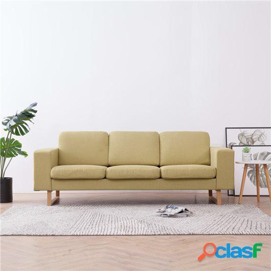 Sofá de 3 plazas de tela verde