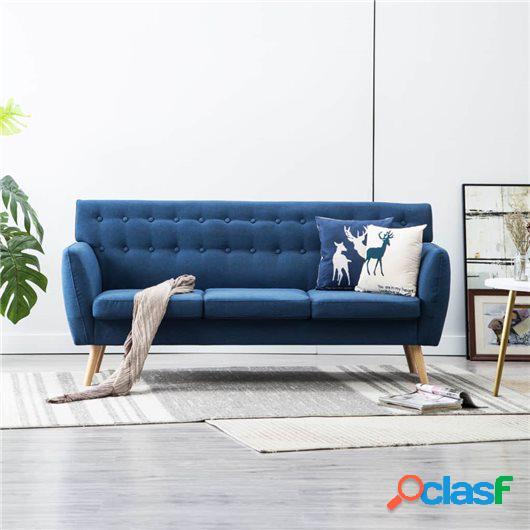 Sofá de 3 plazas tapizado de tela 172x70x82 cm azul