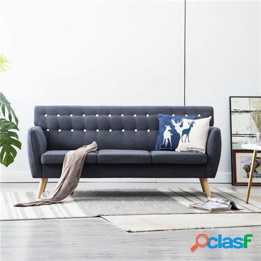 Sofá de 3 plazas tapizado de tela 172x70x82 cm gris oscuro