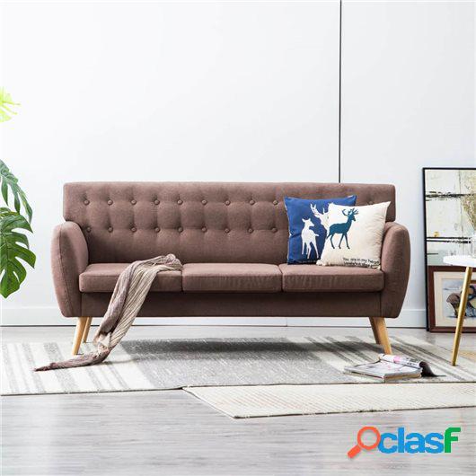 Sofá de 3 plazas tapizado de tela 172x70x82 cm marrón