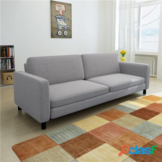 Sofá de 3 plazas tela gris claro