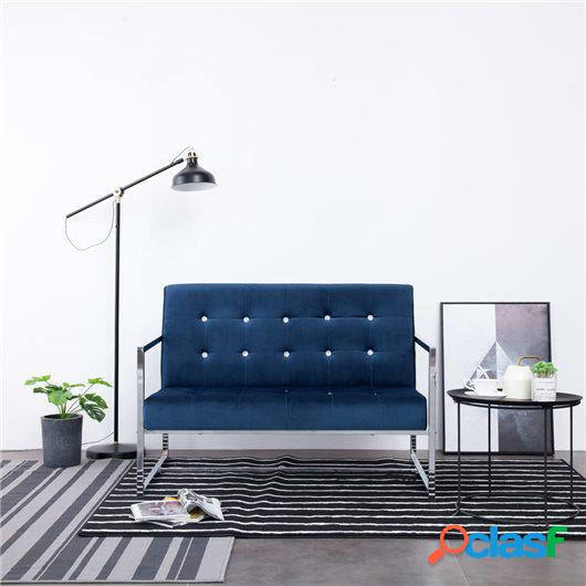 Sofá de dos plazas con reposabrazos cromados y terciopelo