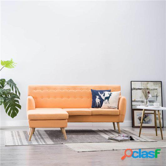 Sofá en forma de L tapizado de tela naranja 171,5x138x81,5
