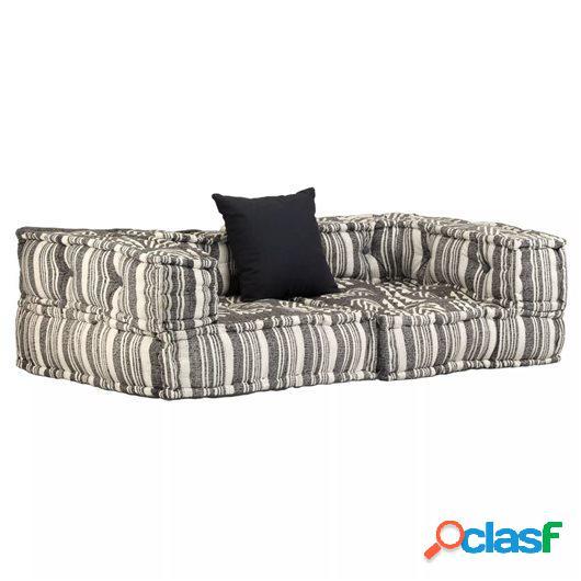 Sofá modular con reposabrazos de 2 plazas de tela a rayas