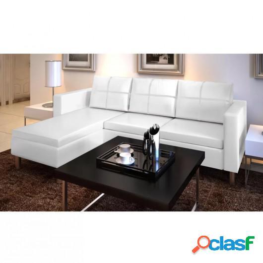 Sofá modular de 3 plazas de cuero artificial blanco