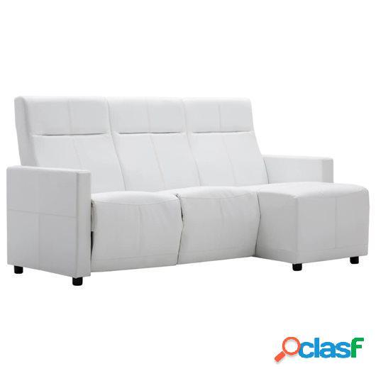 Sofá reclinable en forma de L de cuero sintético blanco