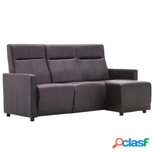 Sofá reclinable en forma de L de cuero sintético marrón