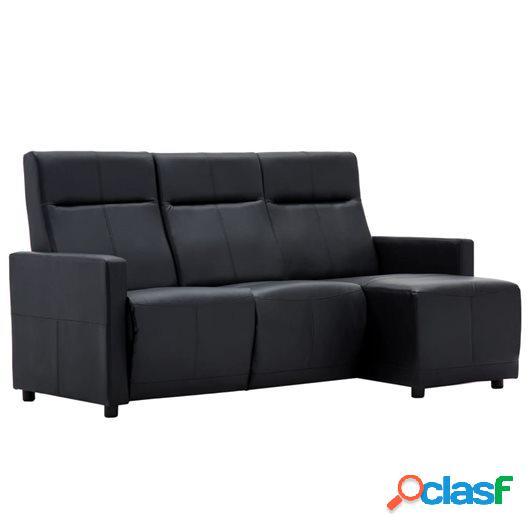 Sofá reclinable en forma de L de cuero sintético negro