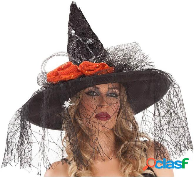Sombrero de Bruja Negro con Velo 59 cm