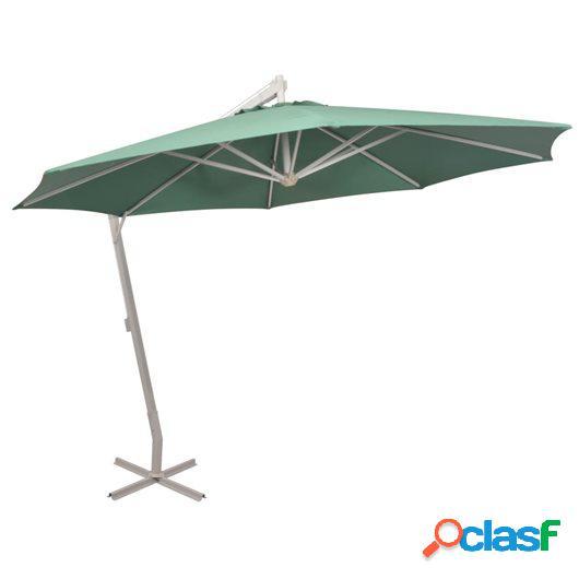 Sombrilla colgante con palo de aluminio 350 cm verde