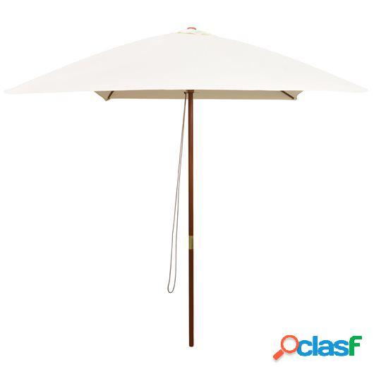 Sombrilla con palo de madera 200x300 cm blanco crema