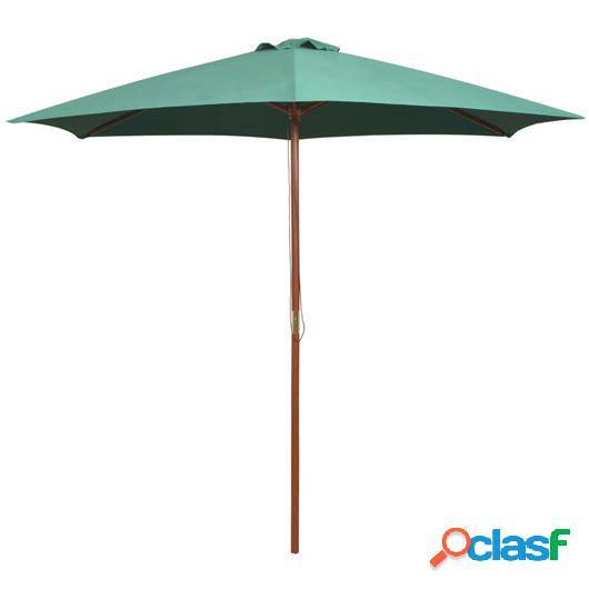 Sombrilla con palo de madera 270x270 cm verde