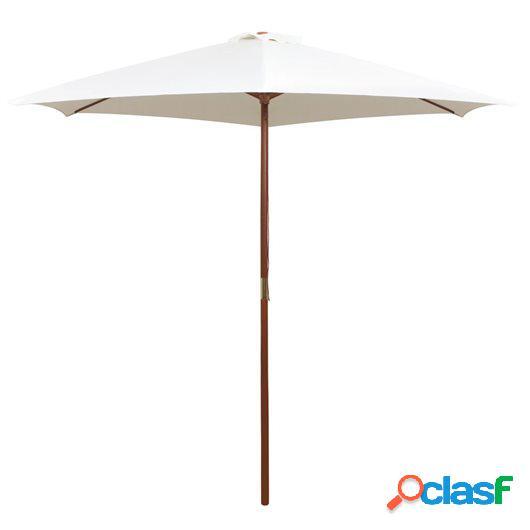 Sombrilla con palo de madera blanco crema 270x270 cm