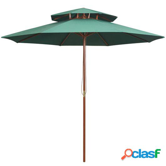 Sombrilla de dos pisos 270x270 cm con palo de madera verde