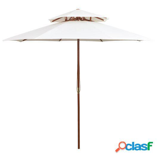 Sombrilla de dos pisos 270x270 cm palo de madera blanca