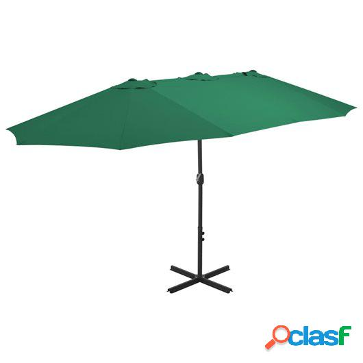 Sombrilla de jardín con palo de aluminio 460x270 cm verde