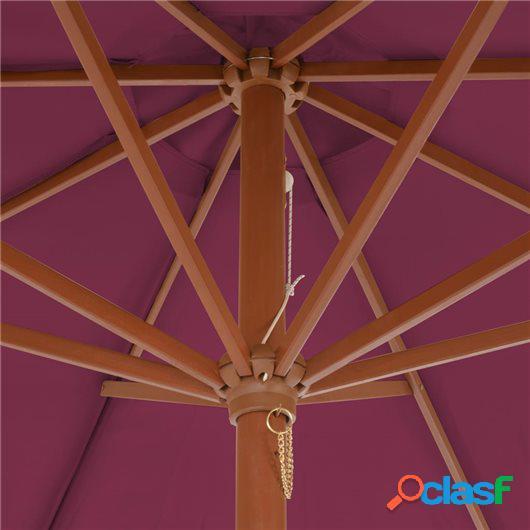 Sombrilla de jardín con palo de madera 300 cm burdeos