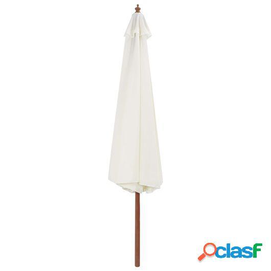 Sombrilla de jardín con palo de madera 350 cm blanco arena
