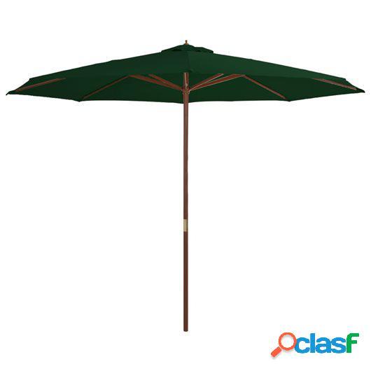 Sombrilla de jardín con palo de madera 350 cm verde
