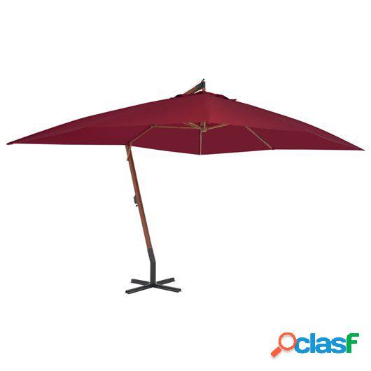 Sombrilla voladiza con poste de madera 400x300 cm rojo