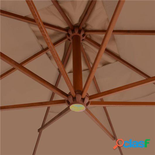 Sombrilla voladiza poste de madera 400x300 cm gris topo