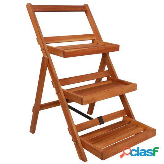 Soporte para plantas de 3 niveles madera de acacia 50x63x80