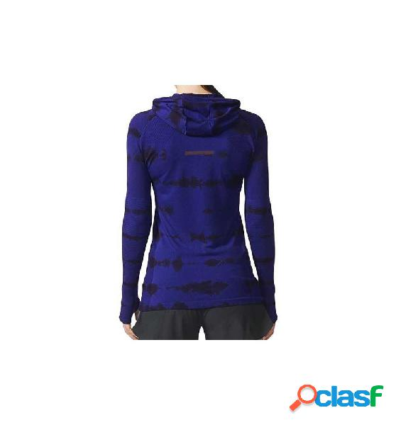 Sudadera Con Capucha Running Adidas Pknit Ls Ef W Azul