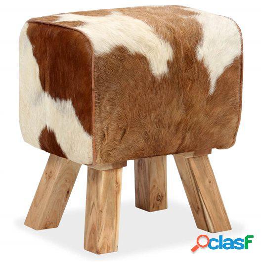 Taburete cuero de cabra auténtico 40x30x45 cm