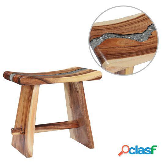 Taburete de madera maciza de Saman y polirresina 50x30x45 cm