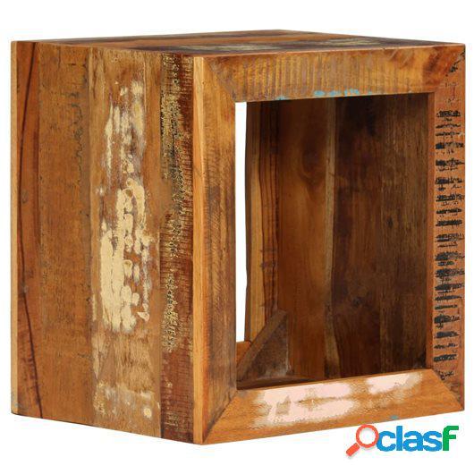 Taburete de madera maciza reciclada 40x30x40 cm
