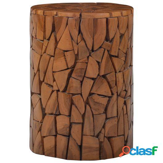 Taburete mosaico de madera de teca marrón 30x42 cm
